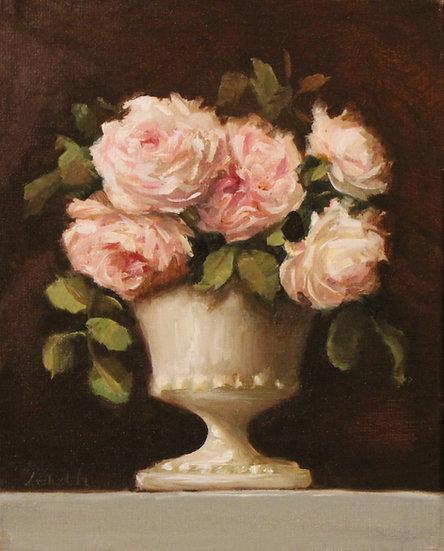 "Eglantyne Roses in Milk Glass 8""x10"" original oil painting on canvas"