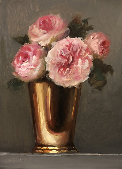 "The Alnwick Rose in Brass Mint Julep Cup, 5""x7"" original oil painting on linen"