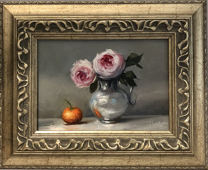 """Wedgwood Roses in Silver Pitcher, 5""""x7"""" original oil painting on linen Frame"""