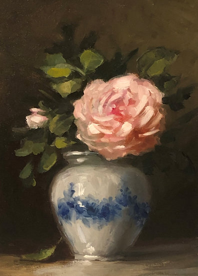 "Generous Gardener in Flow Blue  5""x7"" original oil painting on linen Unframed"