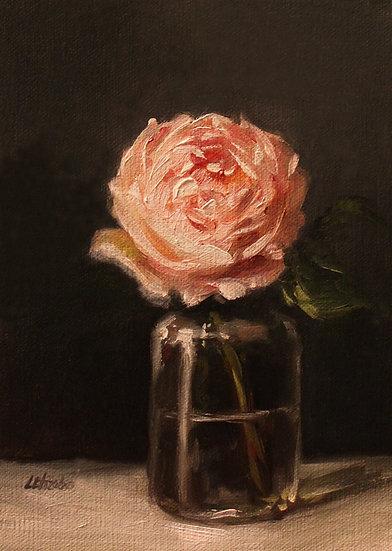 """Rose in Glass Bottle, 5""""x7"""" original oil painting on linen"""