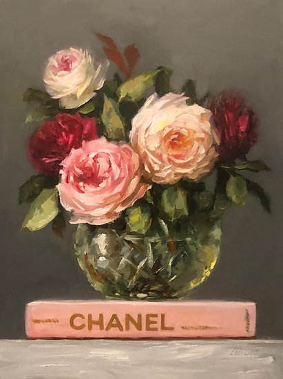 """Pink Chanel Book with Rose Posy, PRINT 8""""x10"""