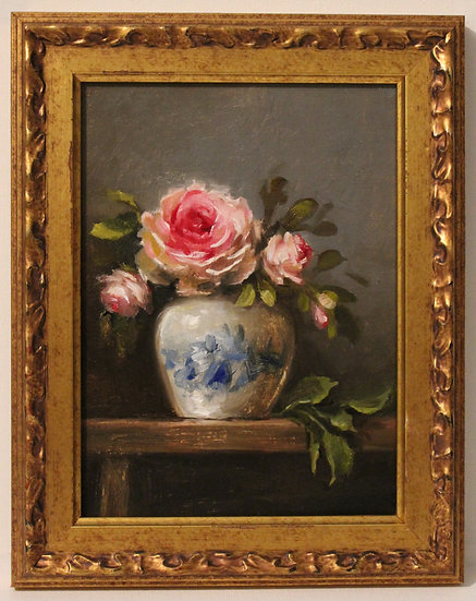 "English Roses in Blue and White; 6""x8"" original oil painting on linen FRAMED"