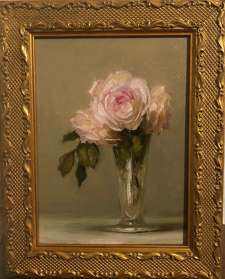 """Pale Pink Roses in Footed Vase 6""""x8"""" original oil painting on linen FRAMED"""