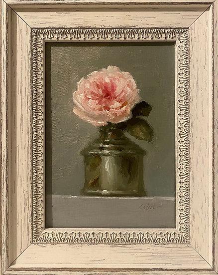 "Earth Angel in Ink Bottle 5""x7"" original oil painting on linen Framed"
