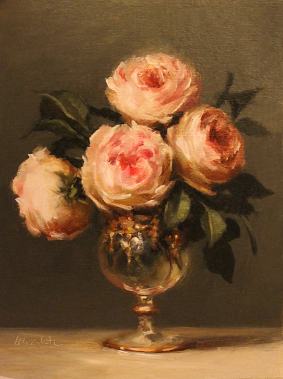 """Pink Roses in Italian Glass, 6""""x8"""" Original Oil Painting on Linen"""