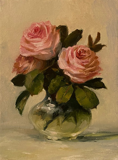 "Rose Trio in Small Vase, 6""x8""original oil painting on linen unframed"