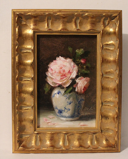 """Pink Roses in Royal Copenhagen Vase, 4""""x6"""" original oil painting on linen FRAMED"""