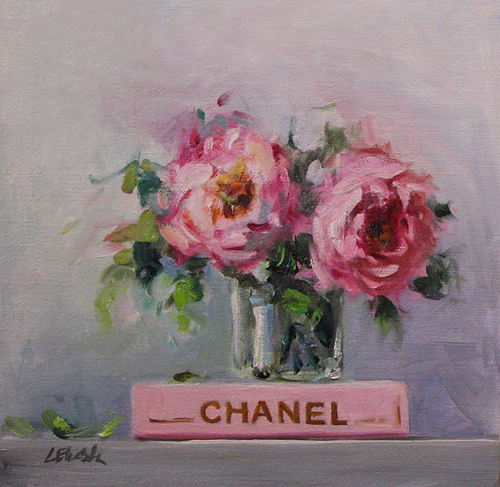 """Chanel Book with Roses, 8""""x8"""" original oil painting on linen"""