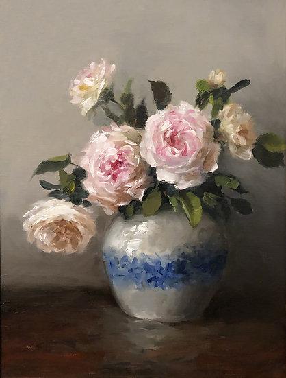 """Roses in Blue and White Vase, Original Oil Painting on 9""""x12"""" Linen Panel Unfram"""