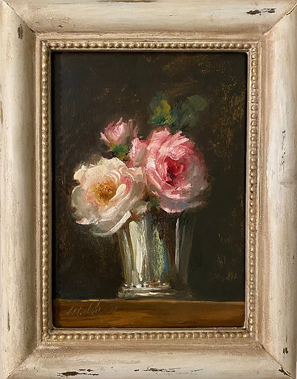 "Roses in Antique Silver Cup 5x7"" oil on linen painting Framed"