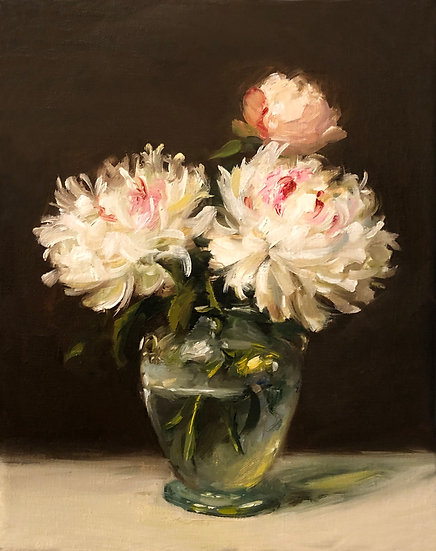 """White Peonies in Blown Glass, 8""""x10"""" original oil painting on wrapped linen"""