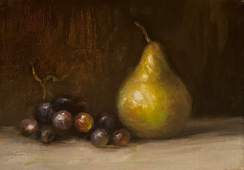 """Still Life of Pear and Grapes, 5x7"""" oil on linen painting"""