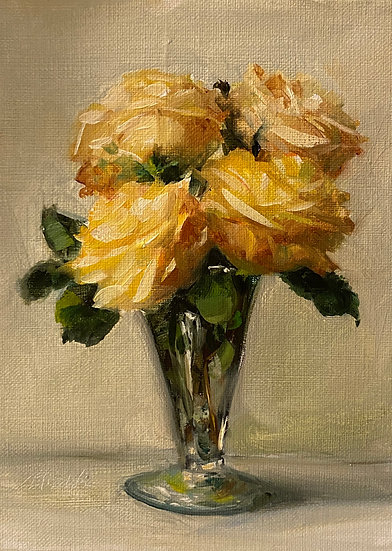"Yellow Roses in Footed Vase, 6""x8""original oil painting on linen"