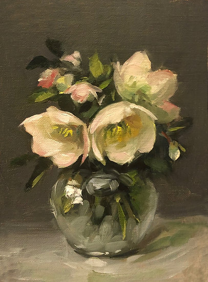 "Helleborus in glass, 5""x7"" original oil painting on linen"