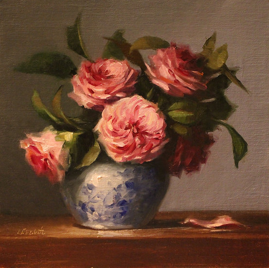 """Roses in Blue and White Ginger Jar, 8""""x8"""" Original Oil Painting on Linen"""