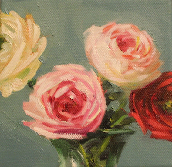 """Ranunculus in Glass, 5""""x5""""x1.5"""" Original Oil Painting on canvas"""