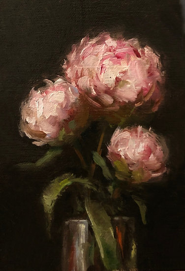 """Still Life with Peonies, 4""""x6"""" original oil painting on linen Unframed"""