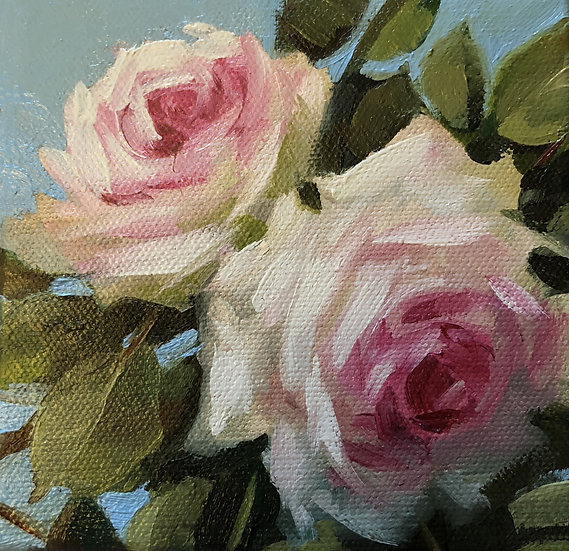 """Soft Pink Roses on Blue, 5""""x5""""x1.5"""" Original Oil Painting on canvas"""