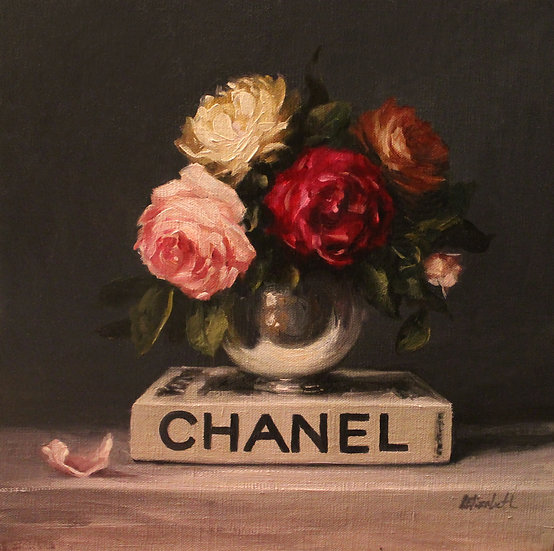 "Chanel Book with Roses, 12""x12""Original Oil Painting on Linen Panel"