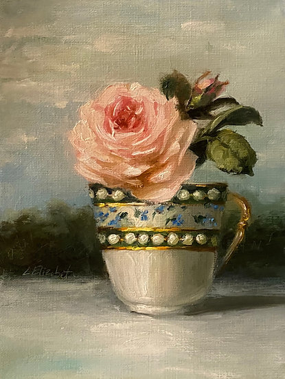 "Rose in Marie Antoinette Cup, 6""x8""original oil painting on linen unframed"
