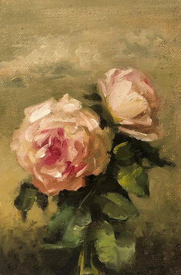 """Garden Roses in Spring Sky 3.8""""x6"""" original oil painting on linen Unframed"""