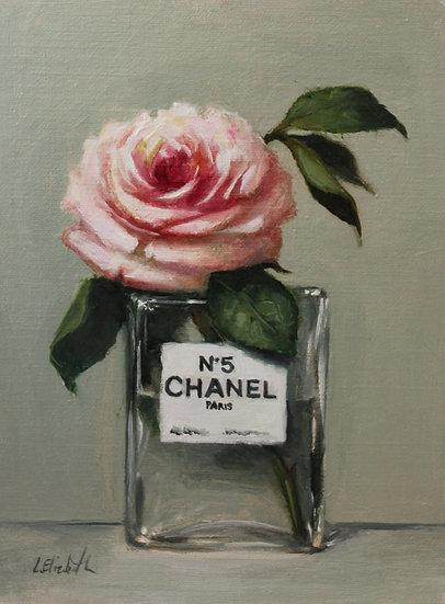 "Rose in Chanel No5 Bottle, 6""x8"" Original Oil Painting on Li"
