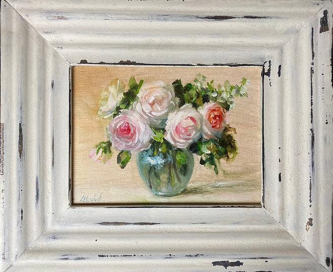 """Sun Kissed Roses in Glass 6""""x8""""original oil painting on linen Framed"""