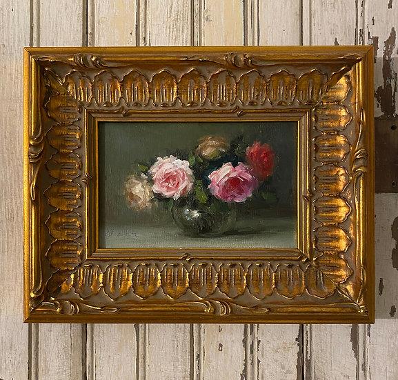 """Roses in Glass Bowl 4""""x6"""""""" oil on linen painting Framed"""