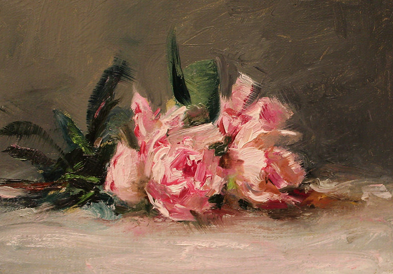 "Pink Azaleas Still Life Sketch, 5""x7"" original oil painting on linen"