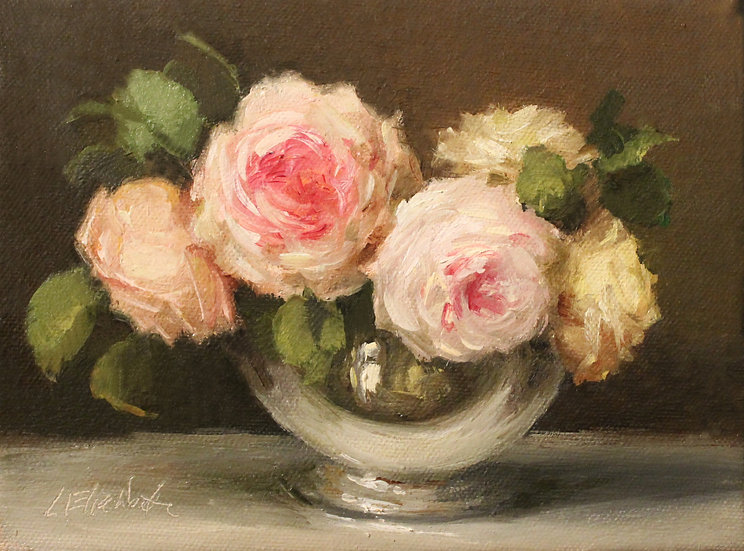 """Roses in Silver Bowl, 6""""x8""""original oil painting on stretched linen"""