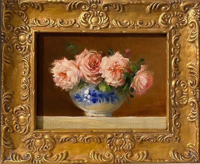 "Summer Roses in Blue and White, 6""x8""original oil painting on linen FRAMED"