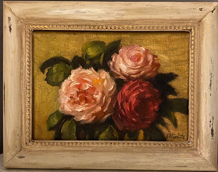"Roses on Raw Sienna, 5x7"" oil on linen painting Framed"