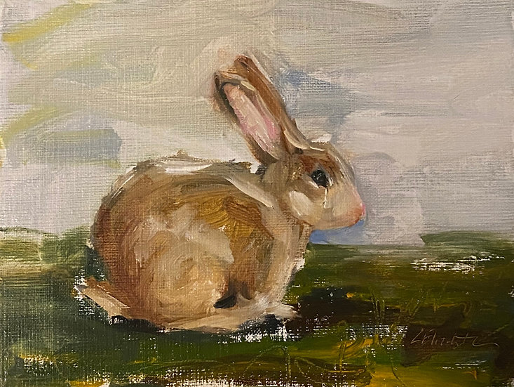 "The Bunny in the Garden, 6""x8""original oil painting on linen Framed"