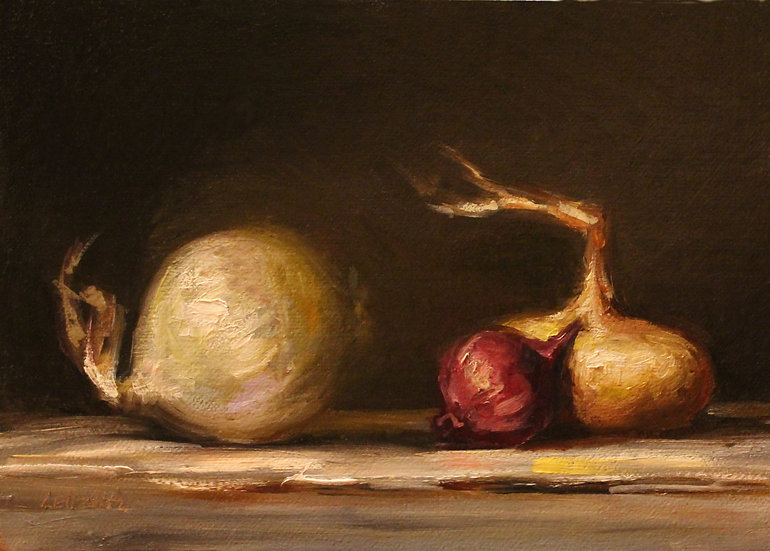 """A Group of Onions, 5""""x7"""" original oil painting on linen pane"""