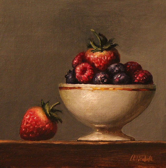 """Berries in White Bowl with Gold Rim, 6""""x6"""" original oil painting on linen"""