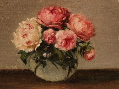 Peonies And Roses In Round Glass Vase 6x8 Original Oil Painting