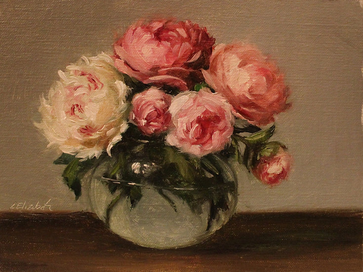 """Peonies and Roses in Round Glass Vase, 6""""x8"""" Original Oil Painting on Linen"""