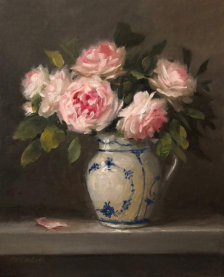"""Roses in Royal Copenhagen Original Oil Painting on  8""""x10"""" Linen Panel Unframed"""