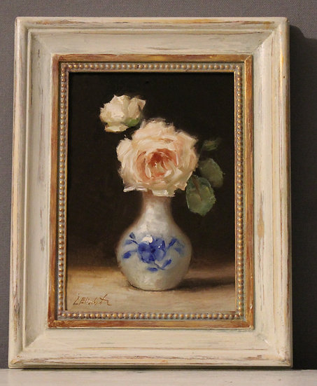 "Tranquility Roses in Blue and White, 5""x7"" original oil painting on linen framed"
