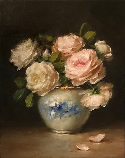"""English Roses in Blue and White Vase, Limited Edition PRINT 8""""x10"""