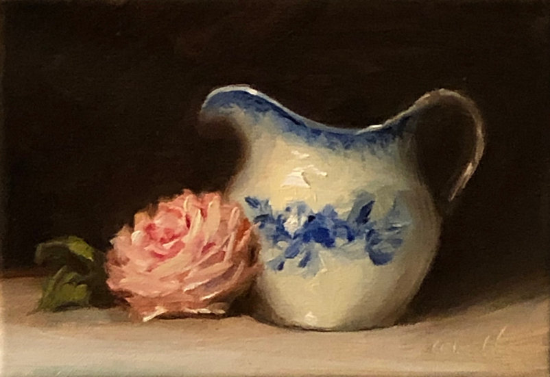 "Rose with Blue and White Pitcher, 5""x7"" original oil painting on stretched linen"