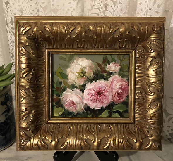 "Wedgwood Roses in the Garden, 5""x6"" original oil painting on linen Frame"
