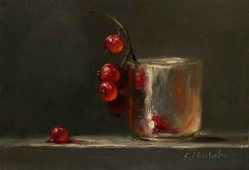 "Red Currants in Frosted Glass, 5""x7"" original oil painting on linen Unframe"