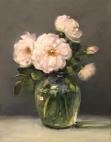 """White Roses in Glass Vase, 8""""x10"""" original oil painting on wrapped linen"""