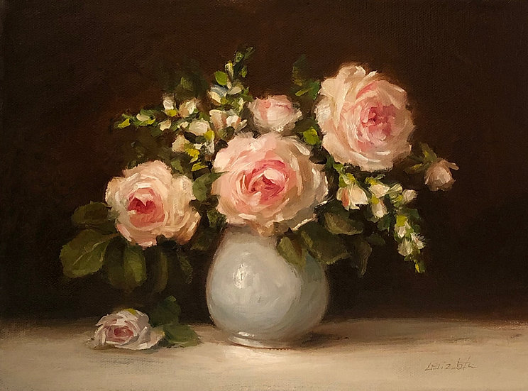"Roses and Snapdragons in Porcelain, Original Oil Painting on  9""x12""on linen"