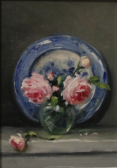 "Blue and White Plate with Roses; 5""x7"" original oil painting on linen UNFRAMED"