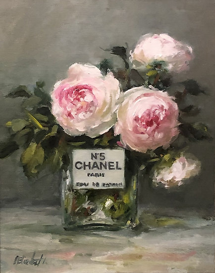 """Garden Roses in Chanel No5, Original Oil Painting on  8""""x10"""" Linen Panel"""