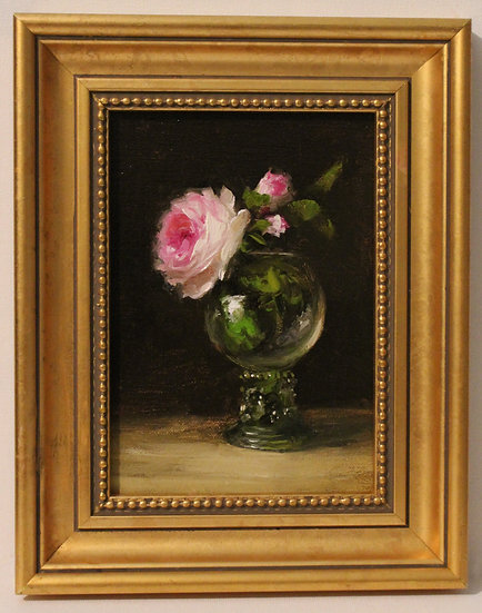 """English Roses in Dutch Glass, 5""""x7"""" original oil painting on linen FRAMED"""