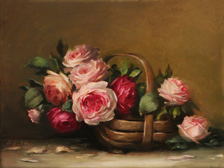 """Roses in Sussex Trug, Original Oil Painting on  9""""x12""""in wrapped linen unframed"""